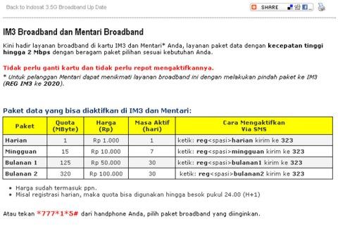 Price Internet IM3 dan Mentari